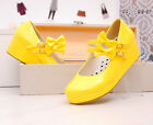Womens Platform Wedge Mary Jane Bow Lolita Pump Leather Shoes Bowknot Plus Size