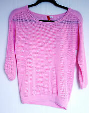 H&M DIVIDED Sweater Eyelet Shirt Top Light Pink Cotton Size 4