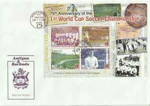 ANTIGUA 15 JUNE 2005 75th WORLD CUP ANNIVERSARY SOUVENIR SHEET FIRST DAY COVER