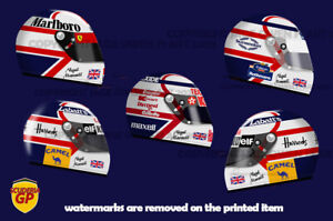 Nigel Mansell Williams Ferrari F1 Indy Helmet Stickers - Scuderia GP