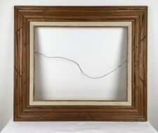 """Mid Century 16x20 Distressed Carved Wood Picture Frame with Linen Mexico 4"""" wide"""