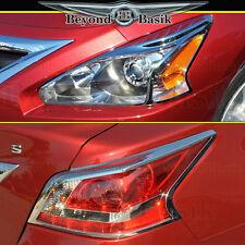 Fits 2013 2014 2015 Altima Chrome Headlight Bezels+Tail Light Trim Cover Overlay