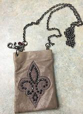 Lisa Berck The Original  B Bag Purse Taupe leather with Fleur de Lis Swarovski