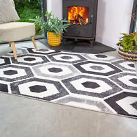 Modern Black Grey Geometric Rug Small Large Soft Living Room Rugs Hall Runners