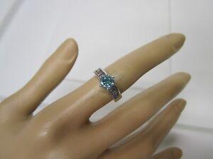 GORGEOUS ESTATE 14 KT GOLD 1.63 CTW VIVID GREEN BLUE DIAMOND RING 5 GRAMS !!!!!