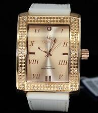 Mens Large Rectangle Watch Rose Gold Tone Roman Numeral Dial Hip Hop Bling Cz