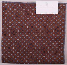 Brunello Cucinelli Einstecktuch Brown Grau Wendbar Doppel Design Neu mit Etikett