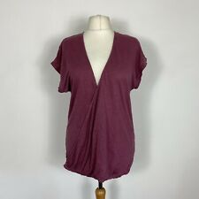 Poetry Berry Pink Linen Slouch Casual Wrap Tshirt Top Size 14