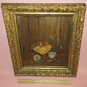 Antique Oil Painting Folk Art Baby Chickens Chicks Just Hatched Barnyard Animal