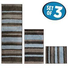 mDesign Stripes Microfiber Bathroom Shower Accent Rug, Spa, Standard Short -