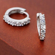 925 Sterling Silver Women's Huggie Small Round Rhinestones Hoop Earrings