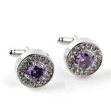 Beautiful Silver Round Purple Austrian Crystal Luxury Shirt Cufflinks