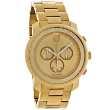 Movado Bold Mens Champagne Dial Gold Tone Swiss Chronograph Quartz Watch 3600278