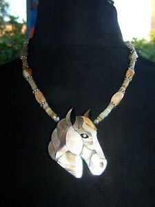 OOAK Southwestern Handmade Western Inlay Shell Horse Jasper Pendant Necklace