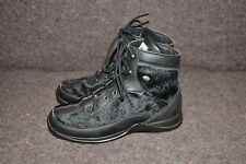WOMEN'S BLACK GOAT SKIN TECNICA LACE UP BOOTS SZ US 7 MADE IN ITALY
