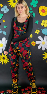 Run & Fly 80's/90's style oversized red& black sunflower print cord  dungarees