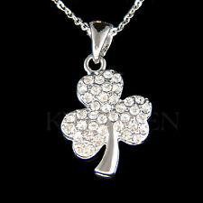 3 Leaf Clover made with Swarovski Crystal Shamrock Irish St Patrick Day Necklace
