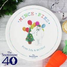 Personalizado el muñeco de nieve Navidad festiva Mince Tarta Placa Chistmas Eve Kids