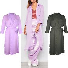 Full Length V-Neckline Patternless Coats & Jackets for Women