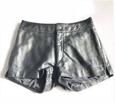 Vintage • Black 100% Leather Short Shorts Size 4 Low Rise