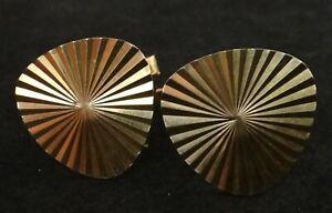 Vintage Art Moderne 18k Gold Cuff Links. Geometric Design. Apx. 19.9mm dia