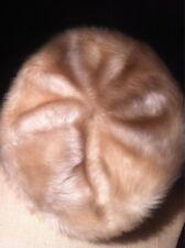 Toque femme bonnet fourrure synthétique beige