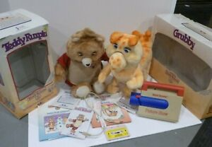 Teddy Ruxpin, Grubby, Loose Books and Tape and photo viewer Lot with cords