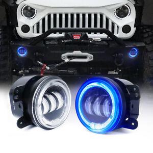 "Xprite 4""Inch 60W CREE LED Fog Lights Blue Halo DRL for Jeep Wrangler JK JKU TJ"