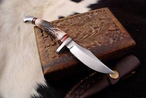 Custom HANDMADE Forged D2 TOOL STEEL HUNTING KNIFE & Stag Antler HANDLE Hunting