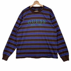 Guess Los Angeles Striped Longsleeve Embroidered Logo Tshirt Size XL Brown/Green