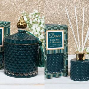 Lime Basil & Mandarin Soy Boutique Candle & Reed Diffuser Set Green & Gold