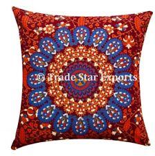 "Authentic Mandala Cushion Cases 16"" Cotton Square Pillow Covers Set Of Two Pcs"