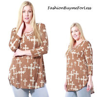 PLUS Rave Biker Gothic Punk Brown Peasant Jersey Cross Tunic Shirt Top 1X 2X 3X