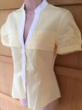 NEW NEXT 10 ladies yellow pleat short sleeve cream trim fitted v front blouse