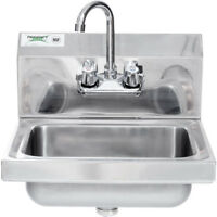 """17"""" x 15"""" Hand Wash Sink w/ FAUCET Commercial Stainless Steel Wall Mount Kit"""