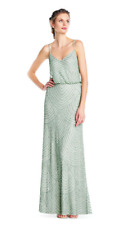 ADRIANNA PAPELL  Art Deco Beaded Blouson Gown NWT Mint Green  sz 16  BRIDESMAID