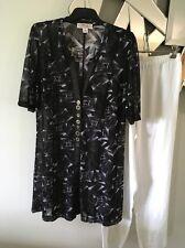 CLARITY THREADZ Black White Grey Short Sleeve Sheer Jacket Jumper Coat M 12 14