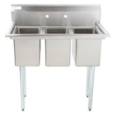 """39"""" 3-Compartment Stainless Steel Commercial Nsf Pot Sink without Drainboards"""