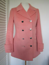 LADIES WAREHOUSE PINK FLEECE DOUBLE BREASTED LONG COAT JACKET SIZE 6 MAC WINTER