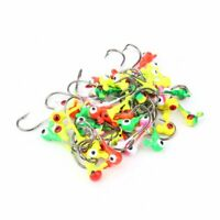 50pcs Mixed Colors Lead Head Barbed Jig Hook Round Head Fishing Hook Sharp Hooks