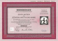 Nürnberger Beteiligungs AG, 1991, Buchst. A ( Zehn Aktien zu je 50 DM) + Coupons