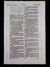 1611 KING JAMES BIBLE LEAF PAGE *BOOK OF LUKE 10:1-11:13 * ASK, SEEK, KNOCK * NF