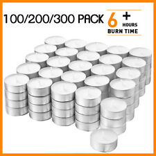 Tea Light Candles 100/200/300 Pcs White Unscented 6 Hours Long Lasting Tealights