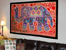 HANDMADE ELEPHANT BOHEMIAN PATCHWORK WALL HANGING EMBROIDERED TAPESTRY INDIA X36