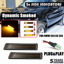 Pair Amber LED Side Marker Indicator Repeater Light For BMW X5 E53 3 Series E36