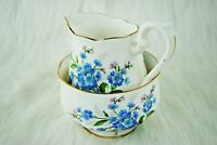 Vintage Collectible Royal Albert Forget Me Not Bone China Sugar Bowl & Creamer