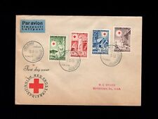 Finland Air Mail Fdc Finnish Red Cross Set Helsinki 1949 Cover to Usa 9k