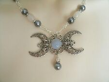 Grey Moonstone Triple Moon Necklace, wiccan pagan wicca goddess witch witchcraft
