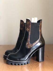 Auth Louis Vuitton Star Trail Black Leather LV Logo Monogram Boots EU 39 US 9