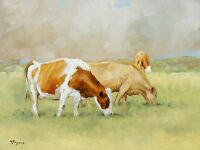 Original Oil painting - farmyard  art -  cows by UK artist j payne